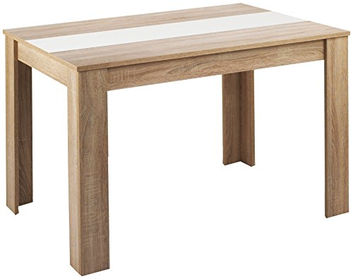 Cavadore 80252 Tisch Nico, 140 x 80 x 75 cm, Melamin Sonoma Eiche, mit Wendeplatte schwarz / weiß