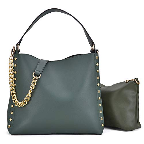 2 Pcs Women Studded Hobo Handbags Soft Vegan Leather Purses Roomy Tote Bags Satchels W/Shoulder Strap