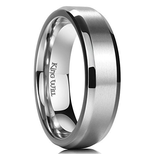 King Will Basic 6mm Titanium Ring Matte Finished Wedding Band Comfort Fit Beveled Edge 13 ()
