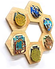 Ankong Medal Display Hanger Rack Wooden Decoration Hexagon Honeycomb Medal Storage Case for Sports Medals, Tra