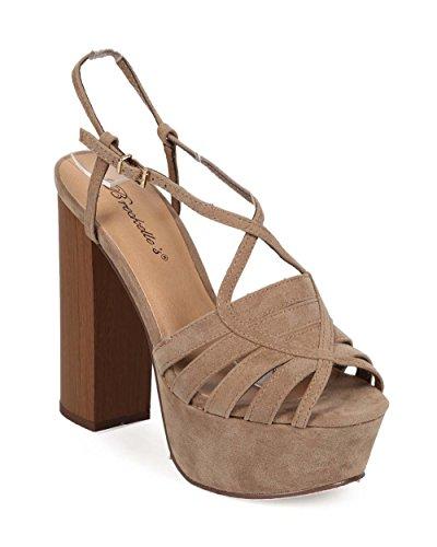 Breckelles Ee03 Kvinnor Mocka Peep Toe Slingback Blockera Häl Plattform Sandal Beige