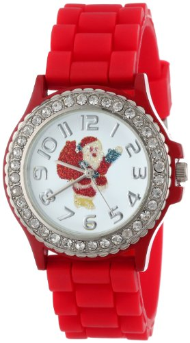 (Geneva Women's 5573_xmasredsanta Holiday Boyfriend White Dial with Santa and Crystals Watch)