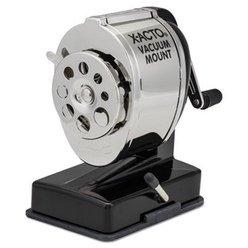 Mount Receptacle Sharpener Chrome Pencil - X-ACTO Products - X-ACTO - Model KS Manual Sharpener, Vacuum Base, Black/Chrome - Sold As 1 Each - Steel receptacle with locking quide for eight pencil sizes. - Twin steel cutters with Pencil Saver prevents over-sharpening. -
