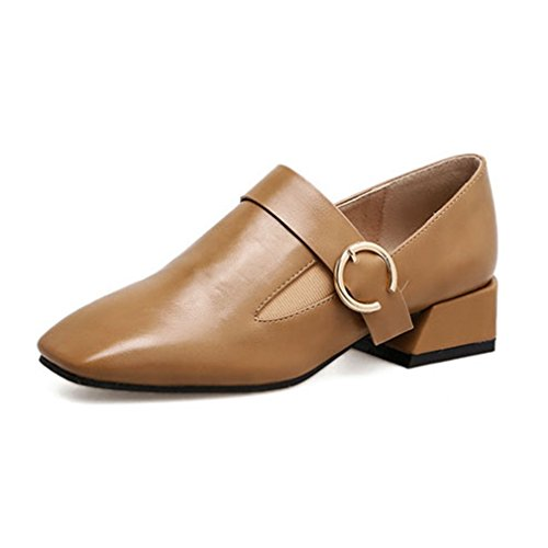 Giy Kvinna Fyrkantig Tå Pumpar Loafers Klassiska Komfort Slip-on Spänne Blocket Häl Tillfällig Klänning Dagdrivaren Skor Brun