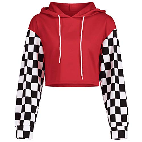 Perfashion Women's Cropped Hoodie Plaid Long Sleeve Patchwork Loose Crop Tops Soft Shirts, Red, Medium