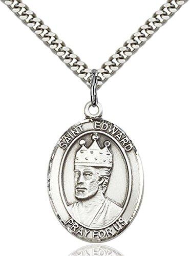 Medal Pendant Edward - bliss Sterling Silver Saint Edward The Confessor Medal Pendant, 1 Inch