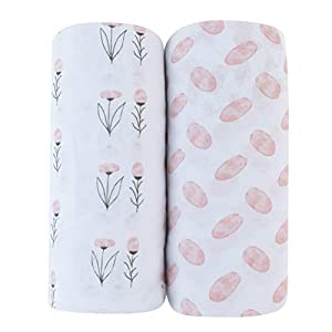 Adrienne Vittadini Bambini Jersey Cotton Bassinet Sheets 2 Pack Watercolor Floral & Ovals, Pink (AVB-0017)