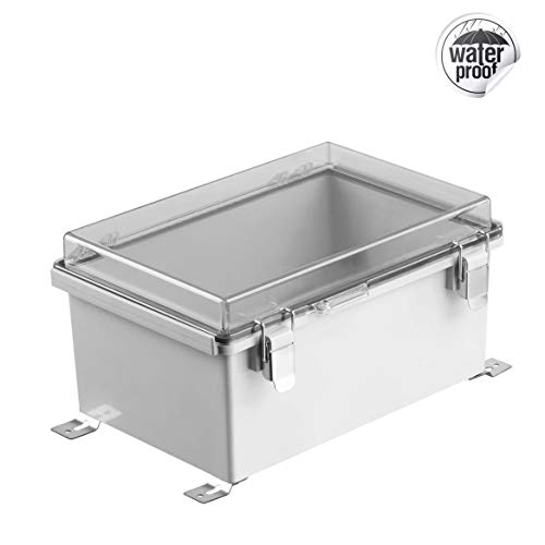 Gratury Junction Box, Hinged Transparent Cover Stainless Steel Latch IP67 Waterproof Plastic Enclosure for Electrical…