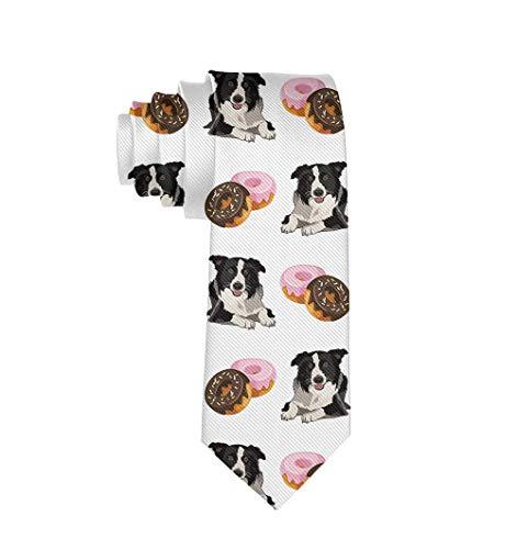 Classic Fashion Men's Tie Elegant Charming Polyester Textile Border Collie Donuts Necktie Party Business Date Wedding Formal Neck Tie