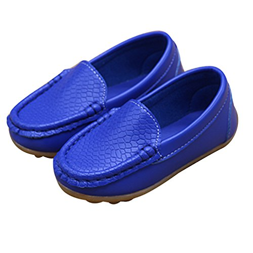 Robasiom Little Kids Frosted Leather Sneakers,Slip-on Boat-Dress Baby Shoes, Soft Leather Comfort Loafers Shoes Durable For Toddlers,Blue,Toddler 6 M