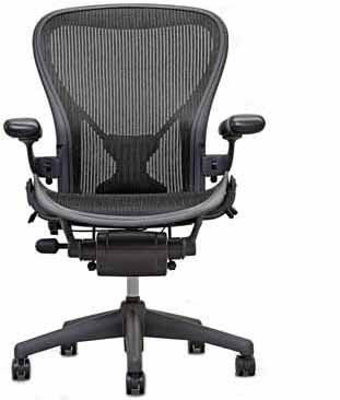 Herman Miller Aeron Task Chair: Highly Adjustable w/PostureFit Lumbar Support - Fully Adjustable Vinyl Arms - Standard Carpet Casters - Graphite Frame - Carbon Classic