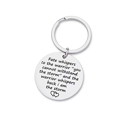 Encouragement Keychain Inspirational Gifts for Women Men Teenage girls Fate Whispers to The Warrior I Am The Storm Key Tag Recovery Survivor Motivational Awareness Jewelry -