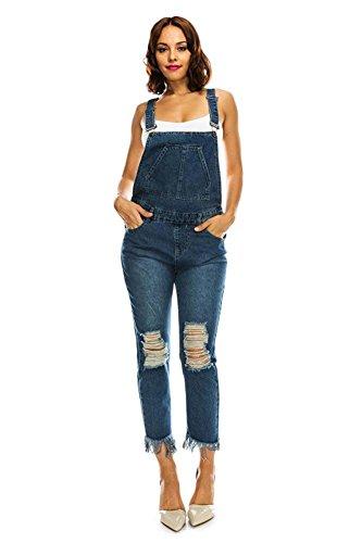 (G-Style USA American Bazi Women's Ripped and Frayed Hem Denim Skinny Overalls RJHO715 - Blue - Medium - DD9D)