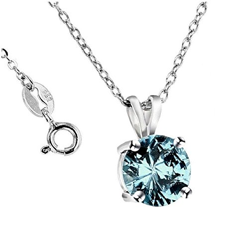 .925 Sterling Silver Aqua Blue 2.00 Carat Total Weight Pendant Necklace,18
