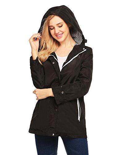 Finejo Womens Winter Lapel Long Sleeve Jacket Long Trench Coat Pocket Outwear Black