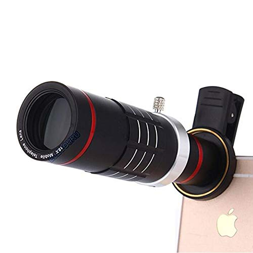Camera Lens Kit,WMTGUBU 18X Zoom HD Clip On Optical Telescope Telephoto Lens+15X Super Macro Lens+0.6X Wide Angle Lens with Clip for All of Samsung Aondroid Phones(Black)