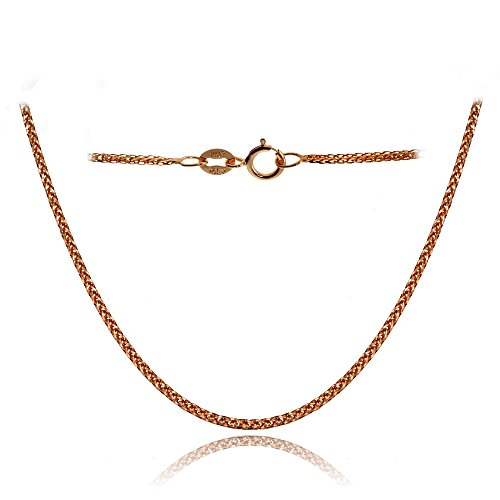 Bria Lou 14k Rose Gold .8mm Italian Spiga Wheat Chain Necklace, 18 Inches by Bria Lou