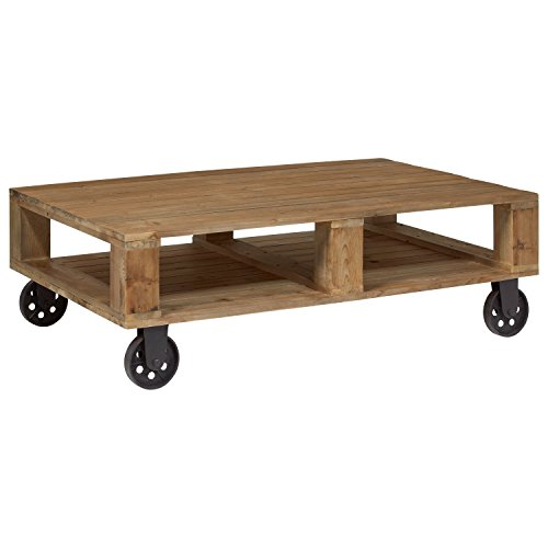 - Stone & Beam Industrial Pallet Wood Coffee Table with Wheels, 51