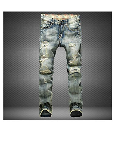LXLDH Ripped Destroyed Hip Hop Jean Homme Fashion Men's Jean Slim Jeans for Male Pants(953,38)