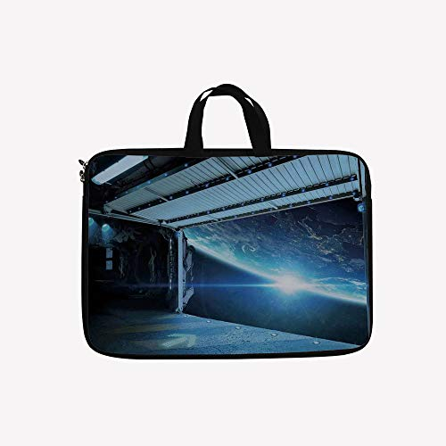 - 3D Printed Double Zipper Laptop Bag,Airlock Shuttle Runway Gate Journey to Stars,14 inch Canvas Waterproof Laptop Shoulder Bag Compatible with 14