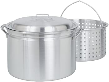 Bayou 24 Qt Aluminum Stockpot with Steam and Boil Basket