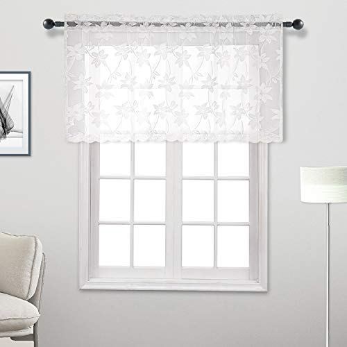 DWCN White Lace Sheer Valance Curtain - Floral Voile Curtain Valances for Kitchen and Bedroom, Small Window Valance 52 x 26 inch Length, 1 Panel ()