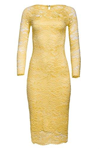 Laeticia Dreams - Vestido de mujer de encaje (manga larga, tallas: S, M, L, XL, XXL, XXXL) amarillo