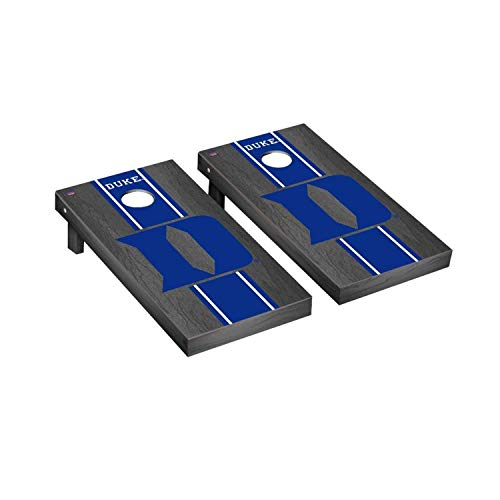 - Victory Tailgate Regulation Collegiate NCAA Onyx Stained Stripe Series Cornhole Board Set - 2 Boards, 8 Bags - Duke Blue Devils