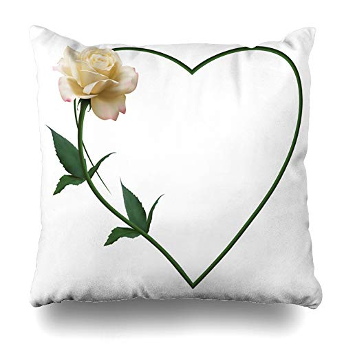 Ahawoso Throw Pillow Covers Bouquet Realistic Ivory Rose Romantic Heart Nature Valentine Birthday Blossom Border Bud Design Home Decor Cushion Case Square Size 20