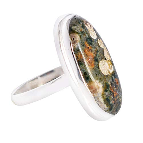 Ravishing Impressions Affordable Price Natural Green Ocean Jasper Gemstone Adjustable Ring, 925 Solid Sterling Silver Jewelry, Gifts FSJ-3734 ()
