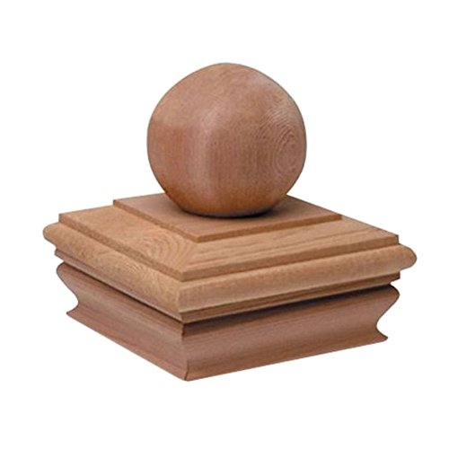 Woodway Flat Top Post Cap With Ball Accent 4x4  - Premium Cedar Wood Finial Post Cap, 4 x 4, Fits Up To 3.5 x 3.5 Inch Post, - 4 Cedar Post X 4