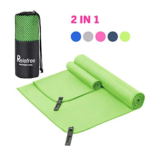 Relefree Microfiber Travel Towel Sports Gym Towel, Quick Dry, Super Absorbent, Lightweight, Ultra Soft Compact and Antibacterial (Green)