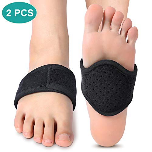 Arch Support Brace, 2 Pcs Plantar Fasciitis Gel Strap for Men and Woman, Orthotic Compression Support Wrap Aids Foot Pain, High Arches, Flat Feet, Heel Fatigue Can Insert for Under Socks and Shoes