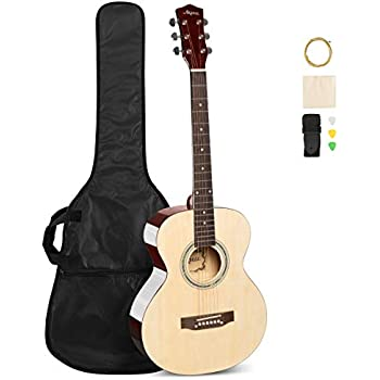 ARTALL 39 Inch Handmade Solid Wood Acoustic Dreadnought Guitar Beginner Kit with Gig Bag, Strings, Picks, Strap, Glossy Red