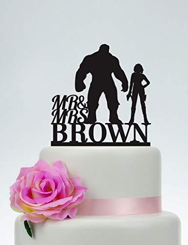 Hulk and Black Widow Cake Topper, Wedding Cake Topper,Mr and Mrs Cake Topper With last name,Superhero Cake Topper,Avengers,Hero Wedding C138 ()