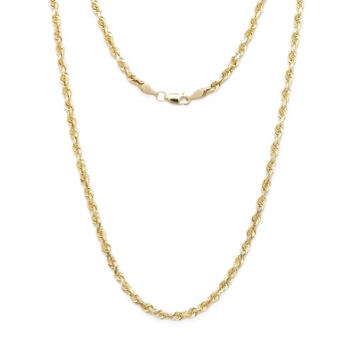 24 Inch 10k Yellow Gold Solid Diamond Cut Rope Chain Necklace 3mm by SL Chain Collection