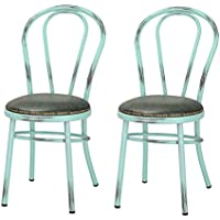 Joveco Vintage Style Round Metal Side Chair with Upholstered Faux Leather Seat, Set of 2, Aqua