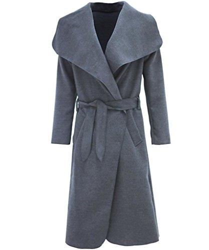 INSPIRED Grey BELTED LADIES WATERFALL OVERSIZED KARDASHIAN JACKET COAT KIM NEW F6zYwtqF