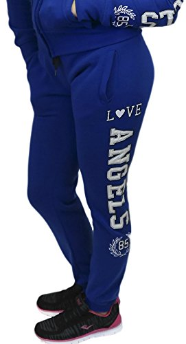 Love Angels 85 Joggers Cotton Blend Sweatpants Loungewear Fleece Lining, Royal Blue Small by Roma Concept