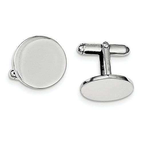 ICE CARATS 925 Sterling Silver Round Cuff Links Mens Cufflinks Man Link Fine Jewelry Dad Mens Gift by ICE CARATS