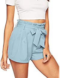 SweatyRocks Women's Casual Elastic Waist Striped Summer Beach Shorts with Pockets