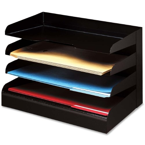 Buddy Products Classic 4 Tier Trays, Legal Size, Steel, 9.5 x 9.675 x 15 Inches, Black (0414-4) ()
