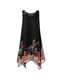 ASTV Women Plus Size Floral Print Chiffon Irregular Hem Mini Dress