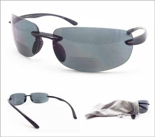 d68257c71a Polarized Bifocal Sun Reader Sunglasses for Men and Women. Light Rimless  Style with TAC Polarized Lenses. Bifocal Magnification Available From 1.50
