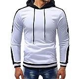 kaifongfu Long Sleeve Hoodie Sweater Top Fashion Men's Autumn Winter Hoodie Top Blouse(White2XL)