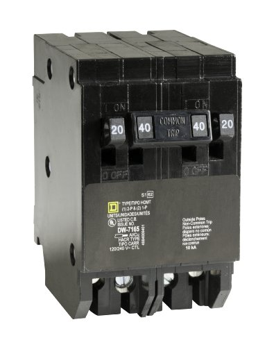 Amp Tandem Circuit Breaker - Square D by Schneider Electric HOMT2020240CP Homeline 2-20-Amp Single-Pole 1-40-Amp Two-Pole Quad Circuit Breaker