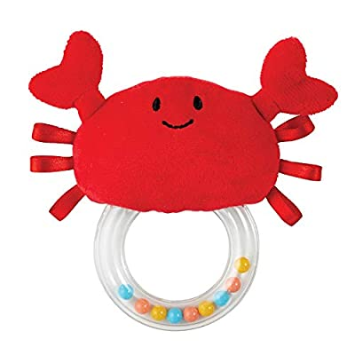 Stephan Baby Stephan Baby Ocean Friends Plush Teething Ring Rattle Available in 4 Designs, Red Crab : Baby