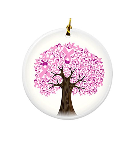 Rikki Knight Breast Cancer Ribbon Tree Design Round Porcelain Two-Sided Christmas Ornaments by Rikki Knight