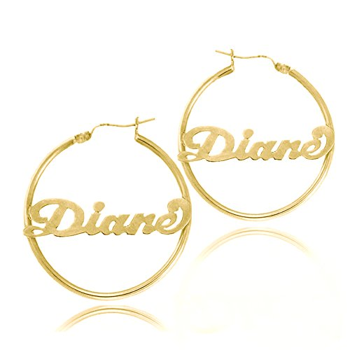 Ouslier Ouslier Personalized 925 Sterling Silver Hoop Name Earrings Custom Made with Any Names (Golden) price tips cheap