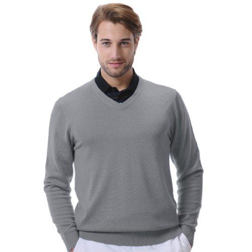 (Monterey Club Mens Long Sleeve 12 Gauge V Neck Soft Sweater #1948 (Light Gray,)